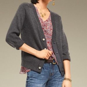 Cabi Cultured Cardigan Pearl Button Grey Size S